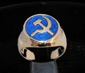 Picture of 21 x BRONZE MEN'S SIGNET RINGS COMMUNIST HAMMER AND SICKLE USSR CCCP DARK BLUE WHOLESALE-LOT