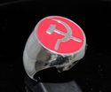 Picture of 21 x STERLING SILVER MEN'S SIGNET RINGS COMMUNIST HAMMER AND SICKLE USSR CCCP RED WHOLESALE-LOT