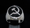 Picture of 21 x STERLING SILVER MEN'S SIGNET RINGS COMMUNIST HAMMER AND SICKLE USSR CCCP BLACK WHOLESALE-LOT