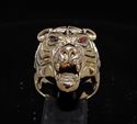 Picture of 21 x BRONZE MEN'S ANIMAL PREDATOR RINGS TIGER HEAD WITH RED CZ EYES ANTIQUED WHOLESALE-LOT