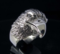 Picture of 21 x STERLING SILVER MEN'S ANIMAL RINGS HUGE EAGLE HEAD WHITE CZ EYES WHOLESALE-LOT