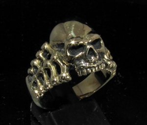 Picture of 21 x BRONZE MEN'S BIKER RINGS JACK THE RIPPER SKULL AND BONES WHOLESALE-LOT