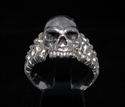 Picture of 21 x STERLING SILVER MEN'S BIKER RINGS JACK THE RIPPER SKULL AND BONES WHOLESALE-LOT