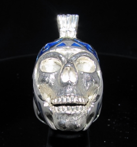 Picture of 21 x HUGE STERLING SILVER BIKER SKULL RINGS ROMAN WARRIOR GLADIATOR BLUE ENAMEL WHOLESALE-LOT