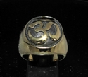 Picture of 21 x BRONZE MEN'S SIGNET RINGS AUM OM OHM SYMBOL BUDDHISM MEDITATION ANTIQUED WHOLESALE-LOT