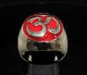 Picture of 21 x BRONZE MEN'S SIGNET RINGS AUM OM OHM SYMBOL BUDDHISM MEDITATION BURGUNDY WHOLESALE-LOT