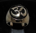 Picture of 21 x BRONZE MEN'S SIGNET RINGS AUM OM OHM SYMBOL BUDDHISM MEDITATION BLACK WHOLESALE-LOT