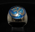 Picture of 21 x BRONZE MEN'S SIGNET RINGS AUM OM OHM SYMBOL BUDDHISM MEDITATION DARK BLUE WHOLESALE-LOT