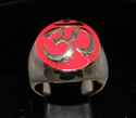 Picture of 21 x BRONZE MEN'S SIGNET RINGS AUM OM OHM SYMBOL BUDDHISM MEDITATION RED WHOLESALE-LOT