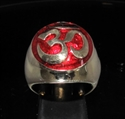 Picture of 21 x BRONZE MEN'S SIGNET RINGS AUM OM OHM SYMBOL BUDDHISM MEDITATION DARK RED WHOLESALE-LOT