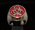 Picture of 21 x BRONZE MEN'S SIGNET RINGS BIOHAZARD TOXIC WASTE SYMBOL RESIDENT EVIL DARK RED WHOLESALE-LOT