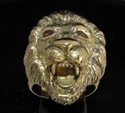 Picture of 21 x BRONZE MEN'S ANIMAL RINGS MALE LION KING RED CZ EYES WHOLESALE-LOT