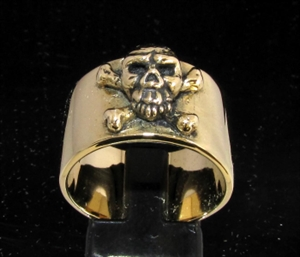 Picture of 21 x BRONZE MEN'S BAND RINGS PIRATE SKULL CROSS BONES JOLLY ROGER WHOLESALE-LOT