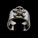 Picture of 21 x STERLING SILVER MEN'S BAND RINGS PIRATE JOLLY ROGER SKULL CROSSED BONES ANTIQUED WHOLESALE-LOT