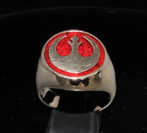 Picture of 21 x BRONZE MEN'S SIGNET RINGS STAR WARS REBEL ALLIANCE COAT OF ARMS DARK RED WHOLESALE-LOT