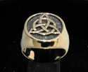 Picture of 21 x BRONZE MEN'S SIGNET RINGS CELTIC TRISKELE KNOT ANTIQUED WHOLESALE-LOT