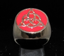 Picture of 21 x BRONZE MEN'S SIGNET RINGS CELTIC TRISKELE KNOT RED WHOLESALE-LOT