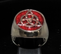 Picture of 21 x BRONZE MEN'S SIGNET RINGS CELTIC TRISKELE KNOT DARK RED WHOLESALE-LOT