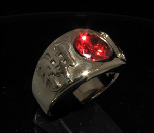 Picture of 21 x BRONZE MEN'S BAND RINGS KAMIKAZEE JAPANESE LETTER RED STONE WHOLESALE-LOT
