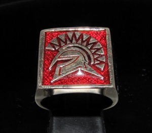 Picture of 21 x BRONZE MEN'S SIGNET SQUARE RINGS SPARTAN GLADIATOR GREEK WARRIOR DARK RED WHOLESALE-LOT