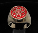 Picture of 21 x BRONZE MEN'S SIGNET RINGS ATOMOS ATOMIC CLOUD MODEL DARK RED WHOLESALE-LOT