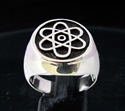 Picture of 21 x ROUND STERLING SILVER RINGS MEN'S SIGNET RINGS ATOMOS NUCLEAR CLOUD SYMBOL WHOLESALE-LOT