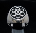 "Picture of 21 x STERLING SILVER MEN'S SIGNET RINGS "" ATOMOS "" ATOM CLOUD SYMBOL BLACK WHOLESALE-LOT"