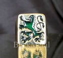 Picture of 21 x BRONZE RINGS BAVARIAN DARK EMERALD GREEN LION COAT OF ARMS WHOLESALE-LOT