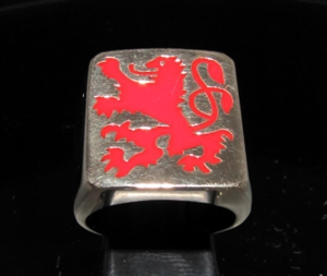 Picture of 21 x BRONZE MEN'S SIGNET RINGS BAVARIAN RAMPAGN LION COAT OF ARMS RED WHOLESALE-LOT