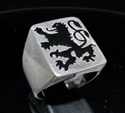 Picture of 21 x STERLING SILVER MEN'S SIGNET RINGS BAVARIAN BLACK LION COAT OF ARMS WHOLESALE-LOT