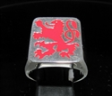 Picture of 21 x STERLING SILVER MEN'S SIGNET RINGS RAMPAGN LION COAT OF ARMS RED WHOLESALE-LOT