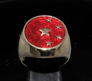 Picture of 21 x BRONZE MAN'S SIGNET RINGS CHINA CHINESE FLAG 5 STARS DARK RED WHOLESALE-LOT