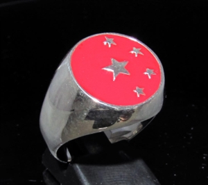 Picture of 21 x STERLING SILVER MEN'S SIGNET RINGS CHINA FLAG 5 STARS RED WHOLESALE-LOT
