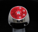 Picture of 21 x STERLING SILVER MEN'S SIGNET RINGS CHINA CHINESE FLAG 5 STARS DARK RED WHOLESALE-LOT