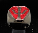 Picture of 21 x BRONZE MEN'S SIGNET RINGS BABYLON 5 PSY CORPS EMBLEM DARK RED WHOLESALE-LOT