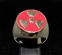 Picture of 21 x BRONZE MEN'S SIGNET RINGS WARNING NUCLEAR POWER RADIOACTIVE RED WHOLESALE-LOT