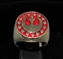 Picture of 21 x BRONZE MEN'S SIGNET RINGS STAR WARS REBEL ALLIANCE COAT OF ARMS NEW REPUBLIC DARK RED WHOLESALE-LOT