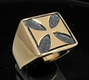 Picture of 21 x BRONZE MEN'S SQUARE SIGNET RINGS CHOPPER IRON CROSS ANTIQUED WHOLESALE-LOT