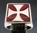 Picture of 21 x BRONZE RINGS CHOPPER IRON CROSS BURGUNDY WHOLESALE-LOT