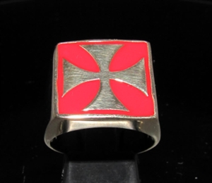 Picture of 21 x BRONZE MEN'S SIGNET BIKER RINGS CHOPPER IRON CROSS RED WHOLESALE-LOT