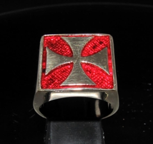 Picture of 21 x BRONZE MEN'S SIGNET BIKER RINGS CHOPPER IRON CROSS DARK RED WHOLESALE-LOT