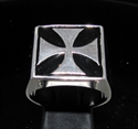 Picture of 21 x STERLING SILVER MEN'S SIGNET RINGS CHOPPER IRON CROSS BLACK WHOLESALE-LOT