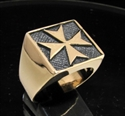 Picture of 21 x BRONZE MEN'S SQUARE SIGNET RINGS MALTESE CROSS CRUSADER MALTA WHOLESALE-LOT