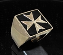 Picture of 21 x BRONZE MEN'S SIGNET RINGS MALTESE CROSS CRUSADER MALTA BLACK WHOLESALE-LOT