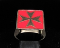 Picture of 21 x BRONZE MEN'S SIGNET RINGS MALTESE CROSS CRUSADER MALTA RED WHOLESALE-LOT