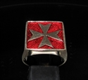 Picture of 21 x BRONZE MEN'S SIGNET RINGS MALTESE CROSS CRUSADER MALTA DARK RED WHOLESALE-LOT