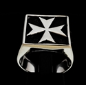 Picture of 21 x STERLING SILVER MEN'S SIGNET RINGS MEDIEVAL MALTESE CROSS CRUSADER MALTA ANTIQUED WHOLESALE-LOT