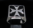 Picture of 21 x STERLING SILVER MEN'S SIGNET RINGS MALTESE CROSS CRUSADER MALTA BLACK WHOLESALE-LOT