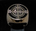 Picture of 21 x BRONZE MEN'S SIGNET RINGS CELTIC CROSS BULLS EYE TARGET BLACK WHOLESALE-LOT