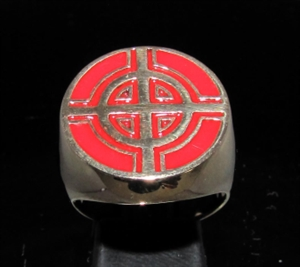Picture of 21 x BRONZE MEN'S SIGNET RINGS CELTIC CROSS BULLS EYE TARGET RED WHOLESALE-LOT